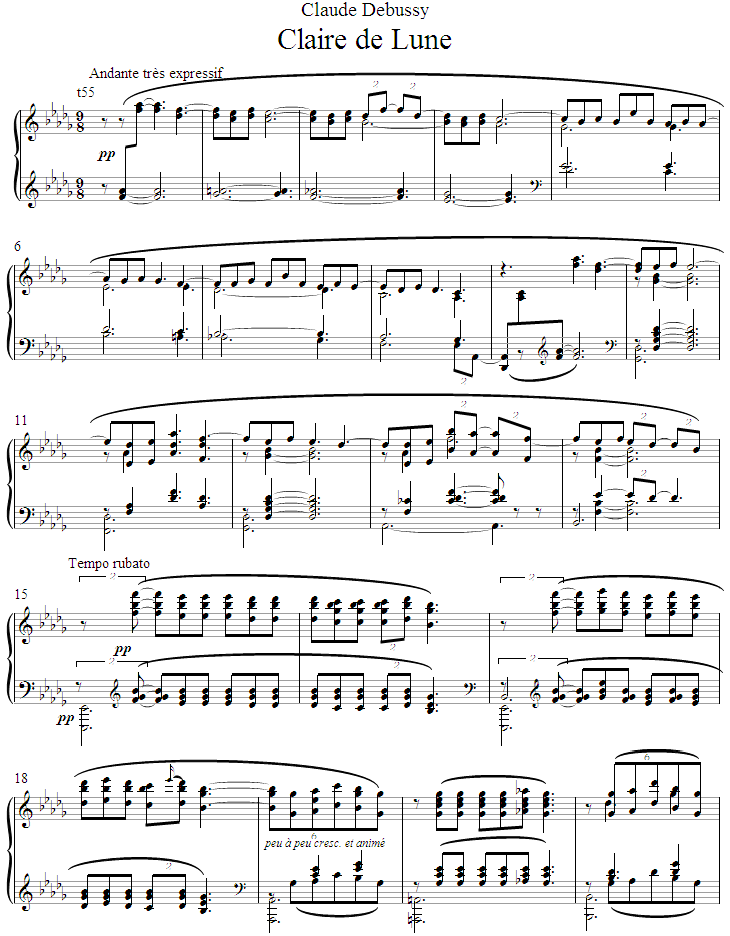 Piano free piano sheet music clair de lune : Assistant Performer